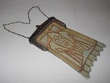 Vintage Whiting & Davis enameled mesh art-deco purse w/ unique design