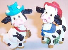 Pair of Small Cow Figurines Wearing Western Cowboy Hats