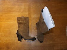 New Ex-M&S Ladies Tan Suede Cowboy Pull-on Boots Size 5 Eur 38 RRP £69