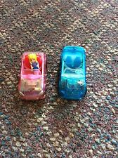 Lot Of 2 Mattel Polly Pocket 2007 Mini Cars 1 Polly Figure & 1 Chair GUC