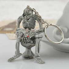 Fashion Creative Skull Toilet Purse Bag Rubber KeyChain Keyring Gift Key chain