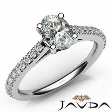 Gorgeous Oval Diamond Shared Prong Set Engagement Ring GIA G SI1 Platinum 1.01Ct