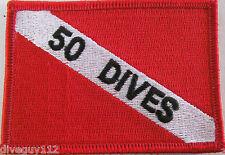 """Scuba Diving Patch Dive Flag Decal """"50 Dives"""" BG0075"""