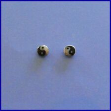 Pair Of Sterling Silver  925  Ying Yang ( 3 mm )   Ear Studs  !!       New  !!