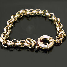 """7mm BELCHER LINK 20"""" Yellow 14k GOLD Layered Necklace + BOLT Ring CLASP"""