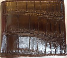 GENUINE CROCODILE BELLY SKIN LEATHER MENS BIFOLD BROWN WALLET NEW
