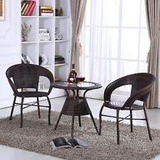 Outdoor 3Pcs Table & Chair Set Coffee Color Garden Seat