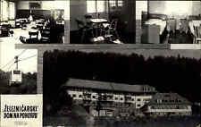 Železničarski Dom na Pohorzu Serbien s/w Mehrbild AK ~1950/60 Seilbahn Herberge