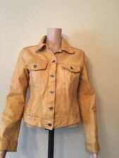 GAP Vintage Tan Brown Weathered Distressed Trucker  Leather Jacket Sz S Women's
