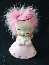 Vintage Napco Angel with Pink Hair!!  SMALL!!  METAL HALO!  JAPAN!  RARE!!