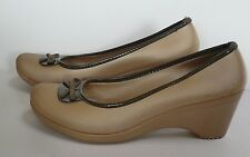 Crocs womens 11 LYDIA Wedge shoes heels Bow Mary Jane beige brown