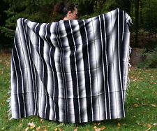 "Mexican Serape Sarape Fringed Blanket Bedspread 84"" x 60"" Black White Grey Gray"