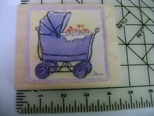 Baby Carriage Stroller Pram filled w/ flowers Flavia Inkadinkado rubber stamp