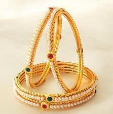 Indian Bangles Jewellery Royal Pearl Set Brass Gold Plated Set of 4 size 2.8.