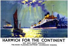 La línea Harwich diario para el continente LNER Tren Ferrocarril viajar cartel impresión