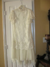 Vintage ivory lace and chiffon tea length Shift  wedding dress. Short Sleeves