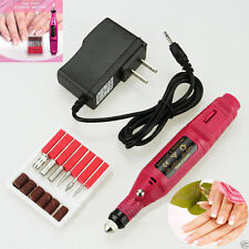 Pro Nail Art Drill KIT Electric FILE Buffer Bits Acrylic Portable Salon Machine