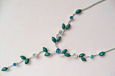 SILVER NECKLACE - TEAL STONES & CLEAR & TURQUOISE DIAMANTE STONES - BRAND NEW