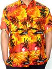 MENS ORANGE YELLOW SUNSET PALM TREE HAWAIIAN CARIBBEAN SHIRT S M L XL XXL 3XL
