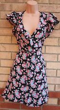 THERAPY BLACK PINK ROSES BELTED BLUE FLORAL SKATER A LINE FLIPPY TEA DRESS 8 S