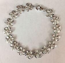 Sterling Silver 925 Hawaiian Cz Plumeria Flower Bracelet
