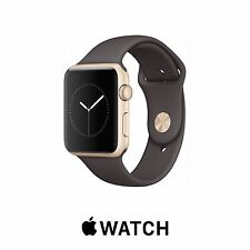 Genuine Apple Watch ( Series 1 ) 42mm GOLD Aluminum COCOA BROWN Band MNNN2LL/A