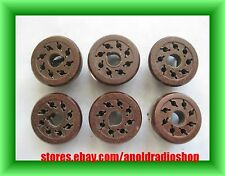6 avail. used Amphenol brown 8 Pin phenolic Octal Tube Socket with mounting clip
