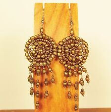 "2 1/2"" LONG Gold Color Handmade Dream Catcher Style Dangle Seed Bead Earring"