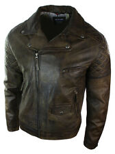 Mens Vintage Washed Brown Black Real Leather Biker Jacket Cross Zip Retro Casual