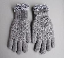 Dk Grey Gray lined gloves faux fur knit stretch gloves winter super warm ladies