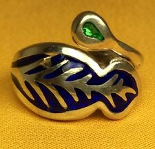 Vintage 925 Sterling Silver Enamel Ladies Ring