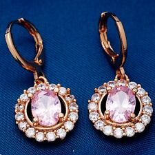 FASHION TREND ROUND DESIGN ROSE GOLD PLATED PINK Cubic Zircon DROP Earrings
