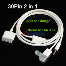 2in1 USB Audio Data Sync Charger Cable iPod iPhone 3GS 4S iPad1 to Car 3.5mm AUX