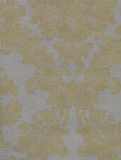 Light Gold Damask Wallpaper on a Gray Background with Faux Burlap Texture LT6911