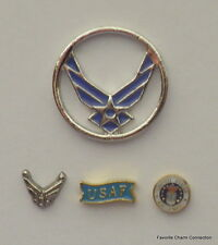 US AIR FORCE USAF Disk Window Plate + 3 Floating Charms for Living Lockets