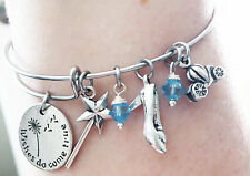 Cinderella Wishes Do Come True Shoe Slipper Godmother Charm Wire Bangle Bracelet