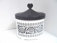 ANNA SUI Black & White Health & Beauty Vanity Organizer Box Oval Case Covered