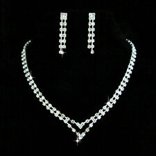 SET Wedding Bridal Prom Crystal Necklace / Earring Love Heart GP Silver N0139E