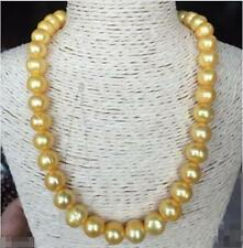 """Beautiful 18"""" 12mm natural south sea golden baroque pearl necklace 14k Clasp"""