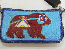 NATIVE AMERICAN BEADED PURSE, BEAR AND TIPI DESIGN WITH DURABLE SHOULDER STRAP