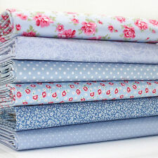 FQ x 6 Bundle THE FAIRY ROSE BEAUTIFUL BLUE FLORAL dots 100% COTTON FABRIC