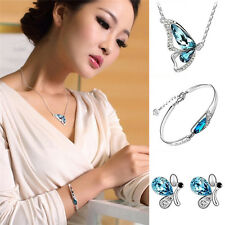 New Butterfly Jewelry Sets Necklace + Earring+Bracelet Crystal Set Fashion LWY