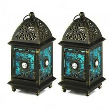 2 Wedding Small Lantern Blue Distressed Candle Holder Centerpieces
