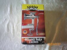 NEW ORIGINAL CORONA MEAT GRINDER WITH SAUSAGE FUNNEL & WOODEN PUSHER TOOL