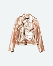 ZARA SHINY METALLIC REAL LEATHER PINK MOTO JACKET SIZE M
