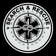 Search & Rescue Small Round Reflective Decal Sticker Star of Life Compass Rope