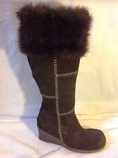 Faith Brown Knee High Suede Boots Size 39