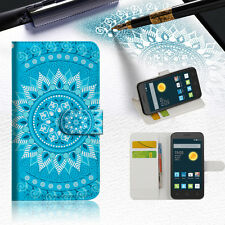 BLUE AZTEC TRIBAL Wallet Case Cover For Telstra 4GX Smart -- A001