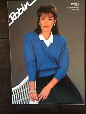 "Robin Knitting Pattern: Ladies V Neck Sweater, 4ply, 28-42"", 15029"
