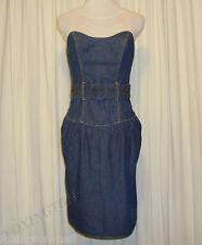 """BNWT:BEAUTIFUL SASS&BIDE STRAPLESS BLUE COTTON DRESS US 8 AUS 14 """"FIELDS OF RA"""""""